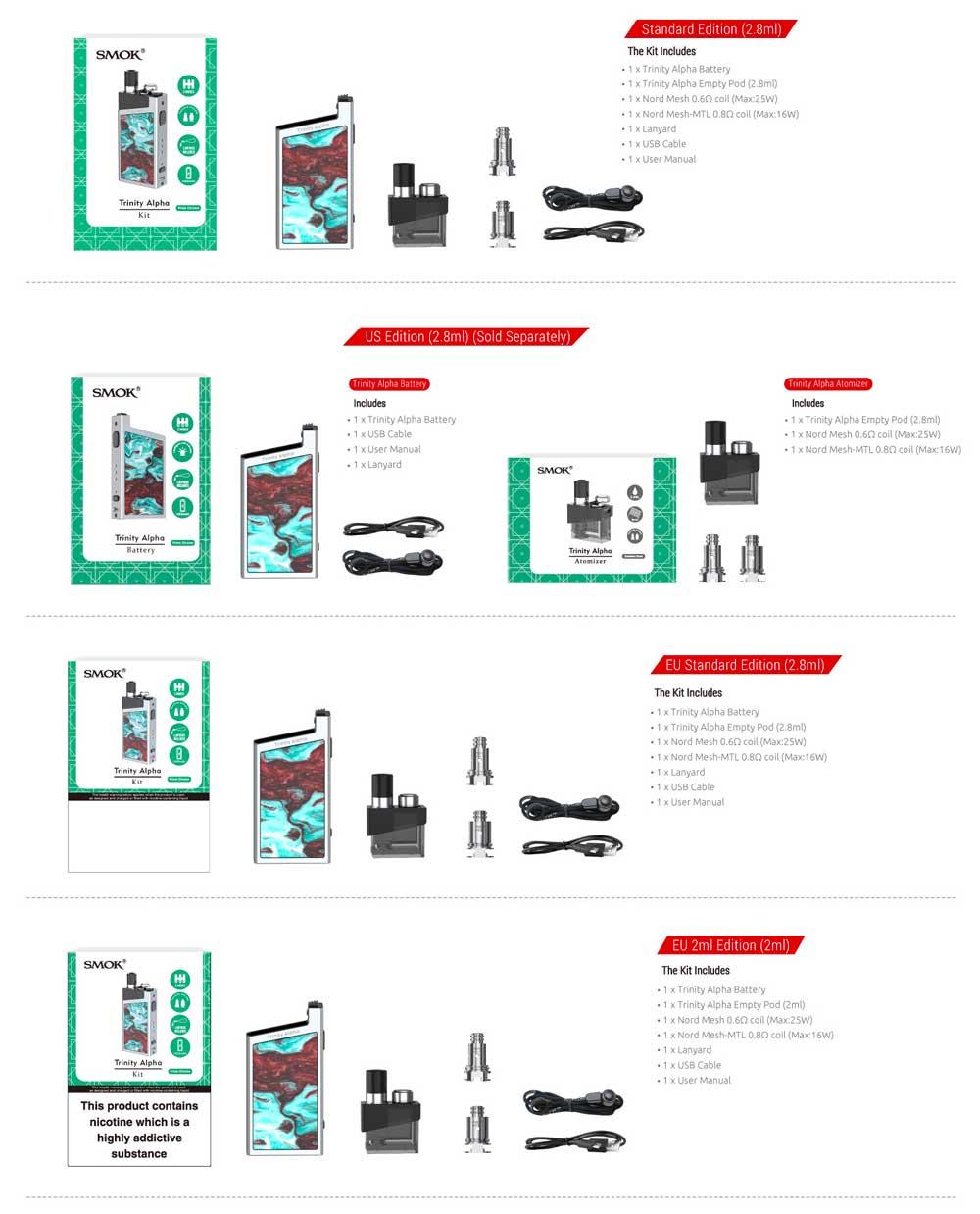 SMOK Trinity kit box contents
